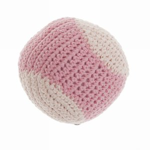 Crochet Baseball Dog toy Gumdrop/pearl  - Mungo & Maud