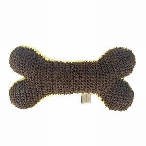Crochet Bone dog toy Chocolate/lemon - Mungo & Maud